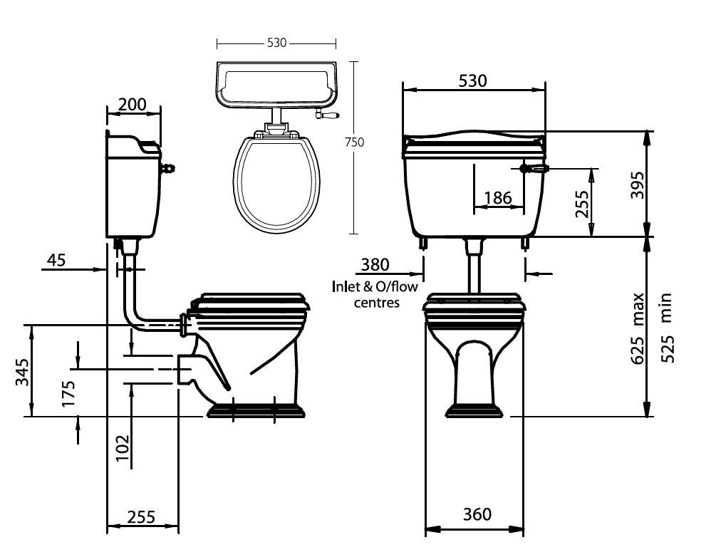 stand wc mit tiefer zisterne in sanit rkeramik von silverdale linie empire. Black Bedroom Furniture Sets. Home Design Ideas