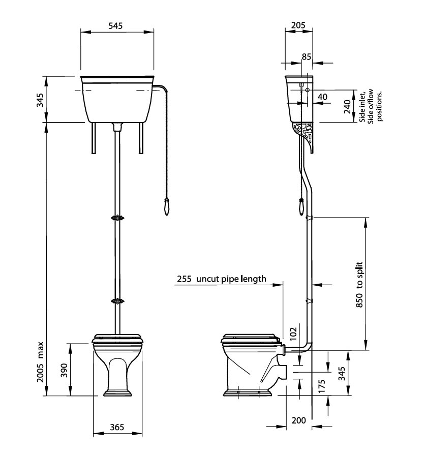 stand wc mit hoch montiertem sp lkasten von silverdale linie empire. Black Bedroom Furniture Sets. Home Design Ideas