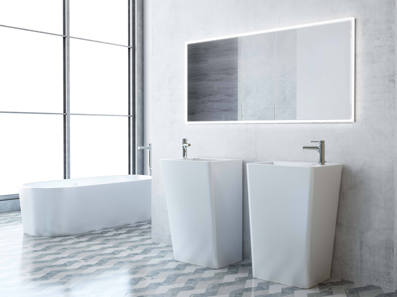 spiegelschrank illuminato von keller breite 150 cm 3 t rig. Black Bedroom Furniture Sets. Home Design Ideas