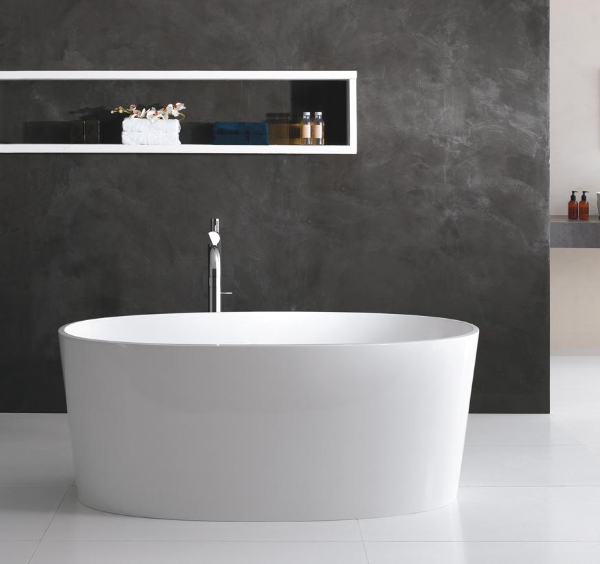 Freistehende Wannen freistehende badewanne ios aus quarrycast in hochglanz weiss