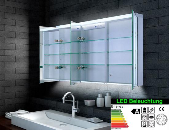 spiegelschrank led breite 120 cm dreit rig lagersortiment. Black Bedroom Furniture Sets. Home Design Ideas