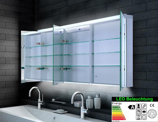 Spiegelschrank LED Breite 160 cm, dreitürig, Lagersortiment ...