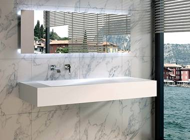 Wandhängendes Design-Lavabo Modell PW12B von Gioiabagno in Steinguss ...