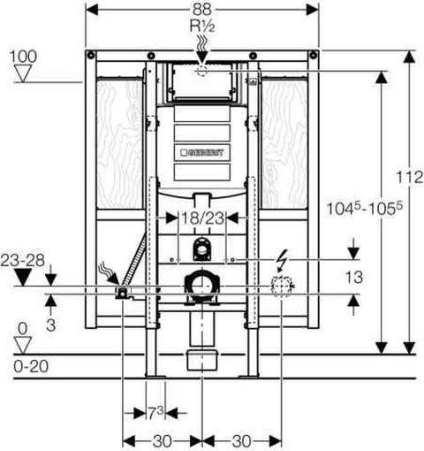 Geberit Duofix Wand-WC-Montageelement, 112cm, UP-Spk. UP320, für Behinderten-WC - edlesbad.ch